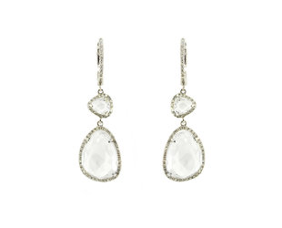 White Topaz and Diamond Drop Earrings DL49