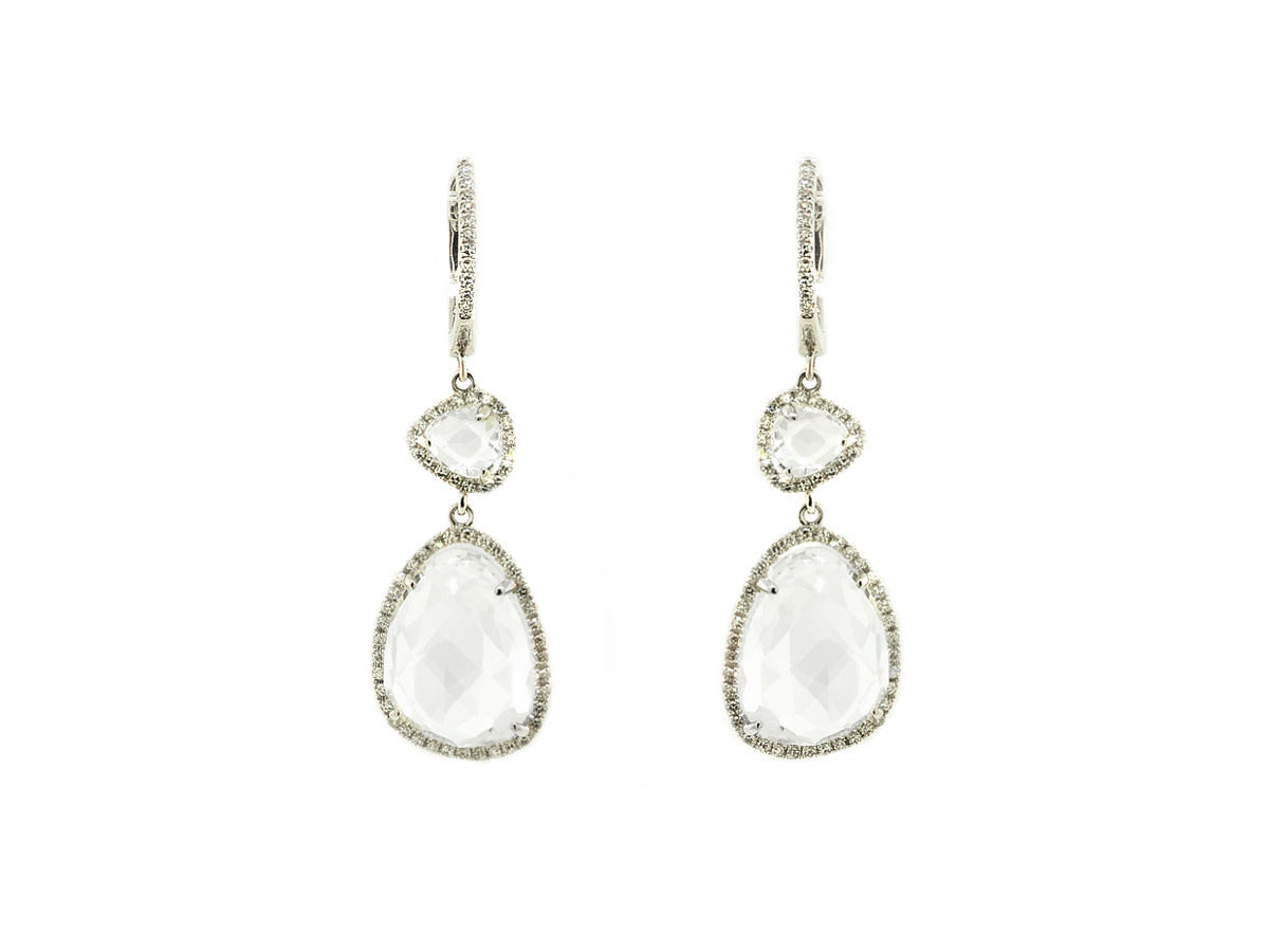 White Topaz and Diamond Drop Earrings