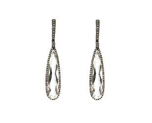 White Quartz Earrings in Black Gold DL50