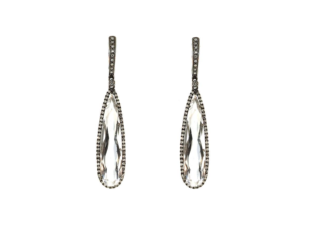 White Quartz Drop Earrings in Blackened Gold