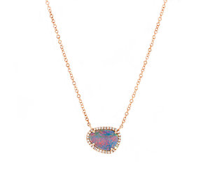 Black Opal and Diamond Necklace DL44