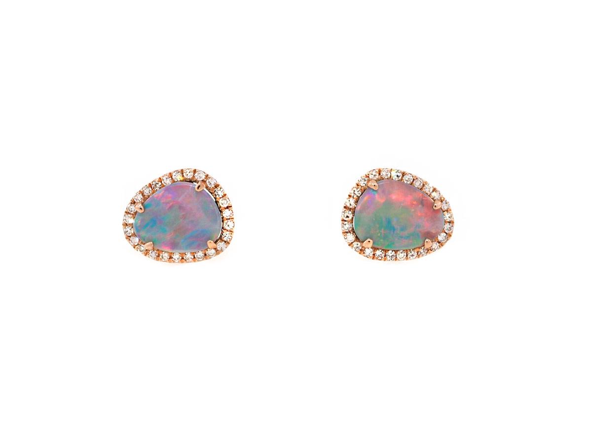 Black Opal and Diamond Rose Gold Studs