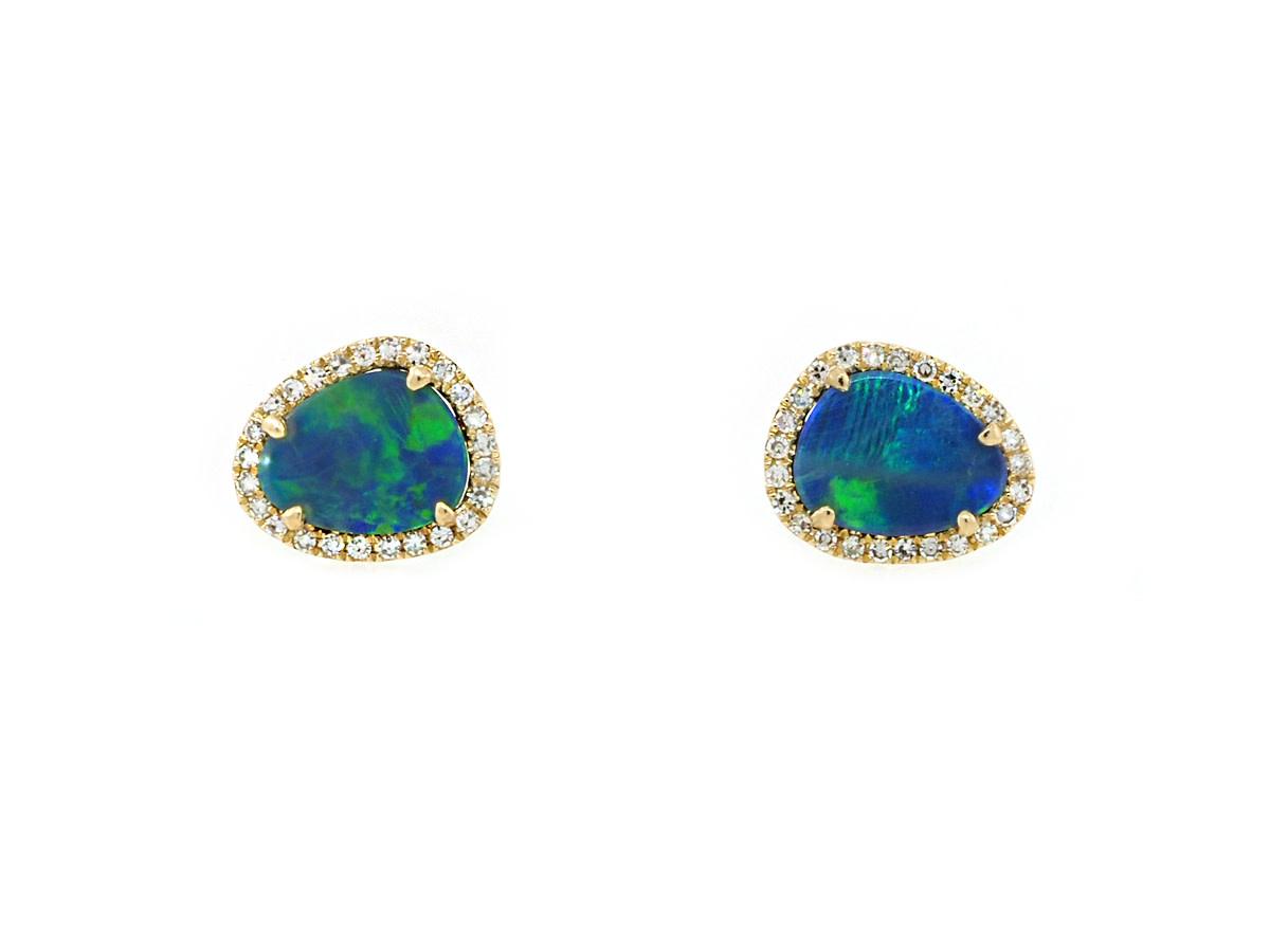 Black Opal and Diamond Gold Studs