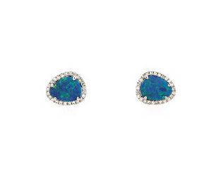 Black Opal and Diamond White Gold Studs DL47