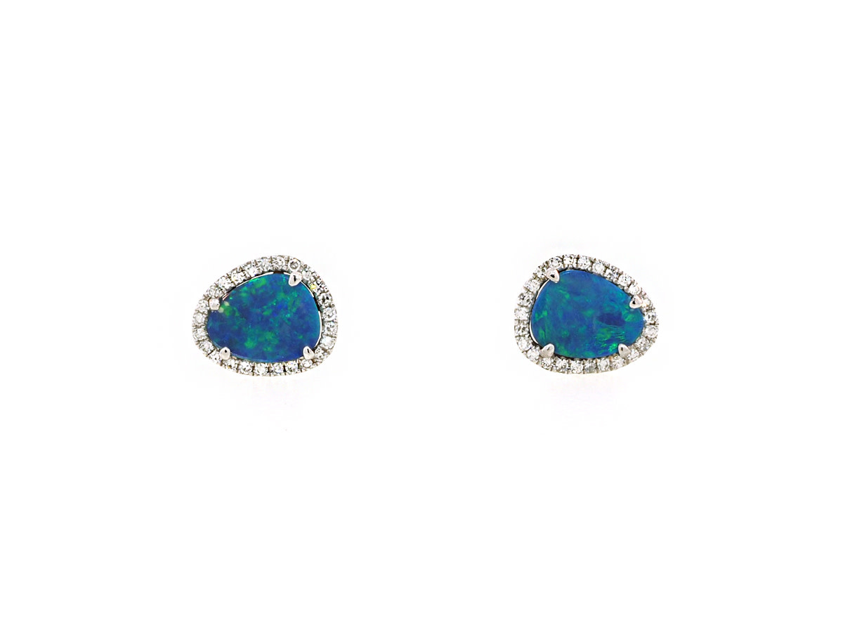 Black Opal and Diamond White Gold Studs