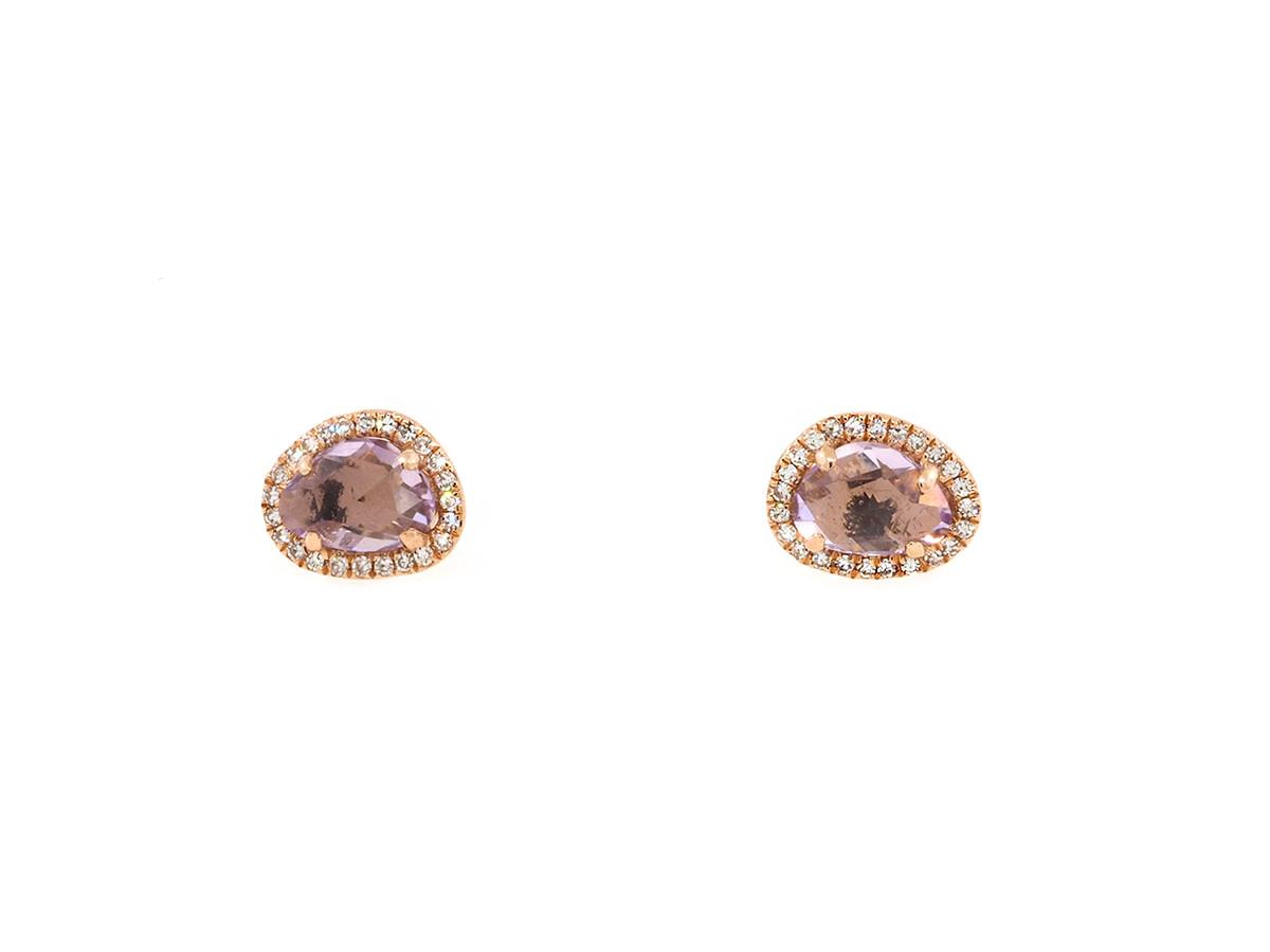 Pink Amethyst and Diamond Studs