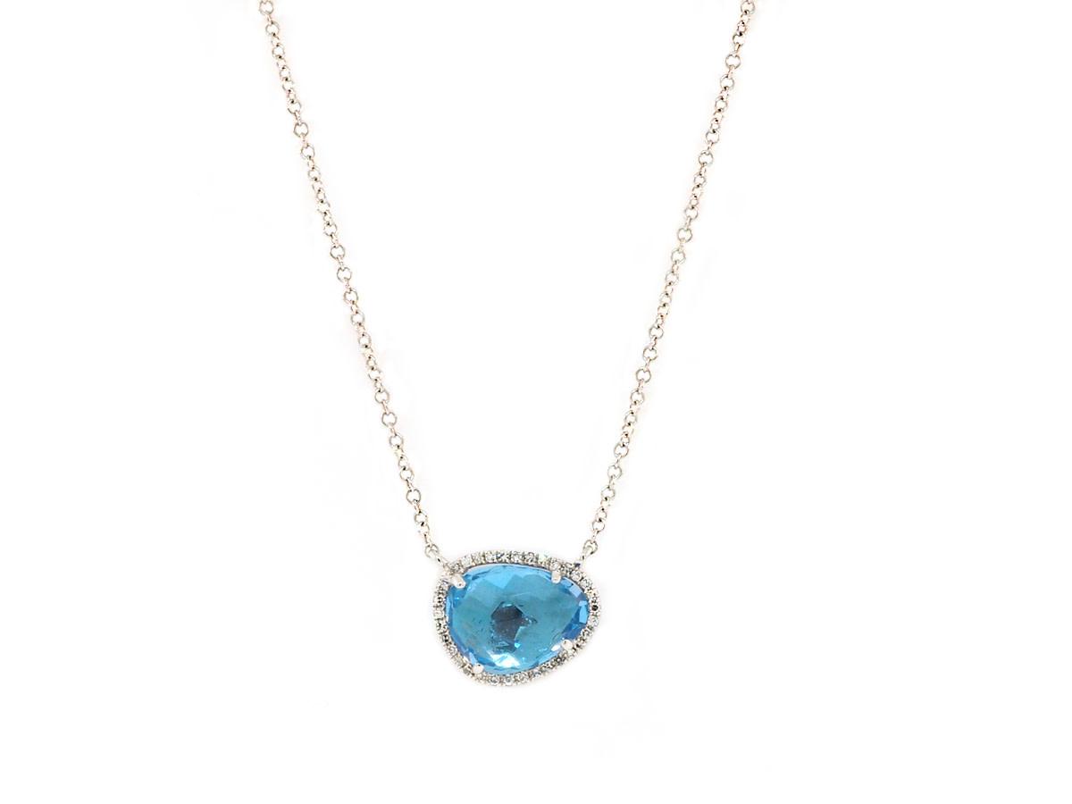 Asymmetrical Blue Topaz and Diamond Necklace