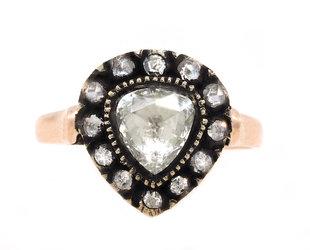 Trabert Goldsmiths Antique Victorian Rose Cut Diamond Ring E2162