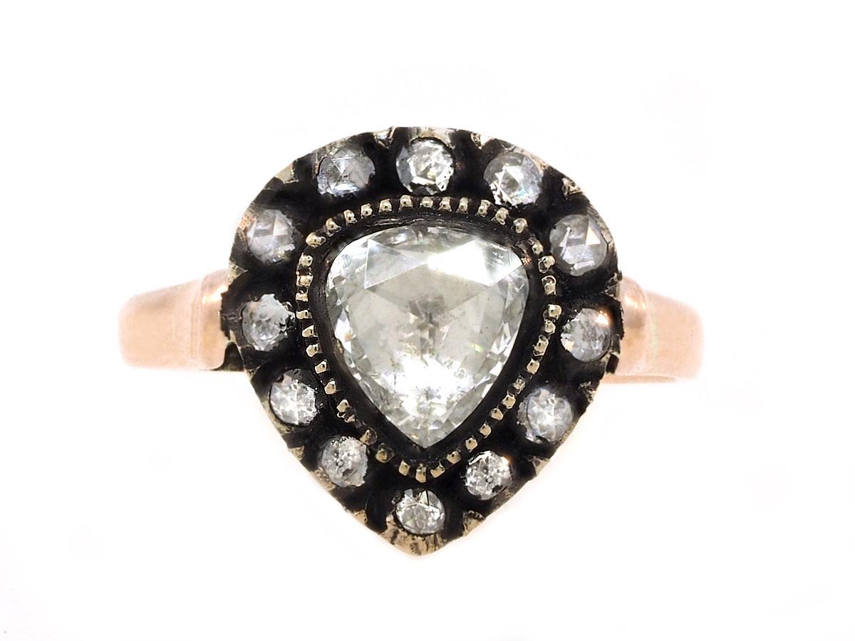Trabert Goldsmiths Antique Victorian Rose Cut Diamond Ring