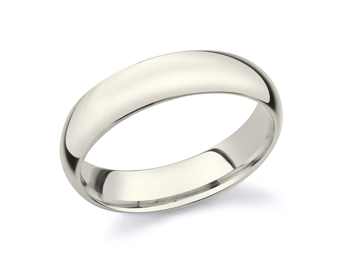 5mm Natural White Gold Half Round Band