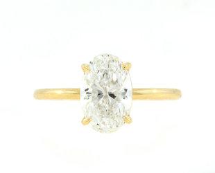 Trabert Goldsmiths 2.01ct FSI1 Oval Diamond Aura Ring E2174