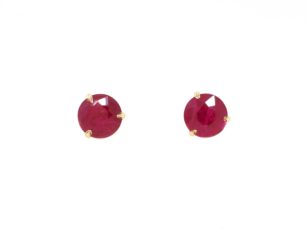 Trabert Goldsmiths 2.37ct Ruby Stud Earrings