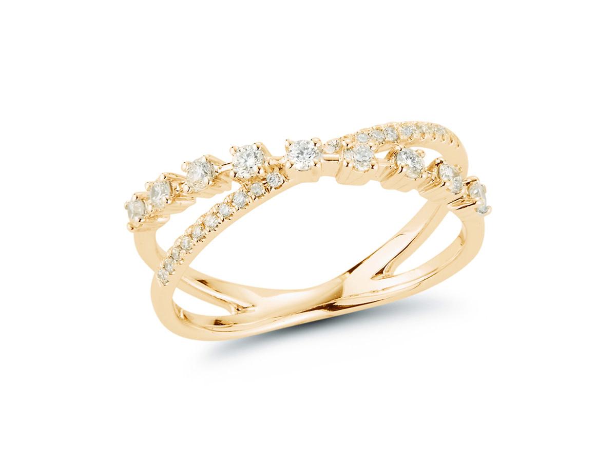 Dana Rebecca Ava Bea Cross Over Diamond Gold Ring