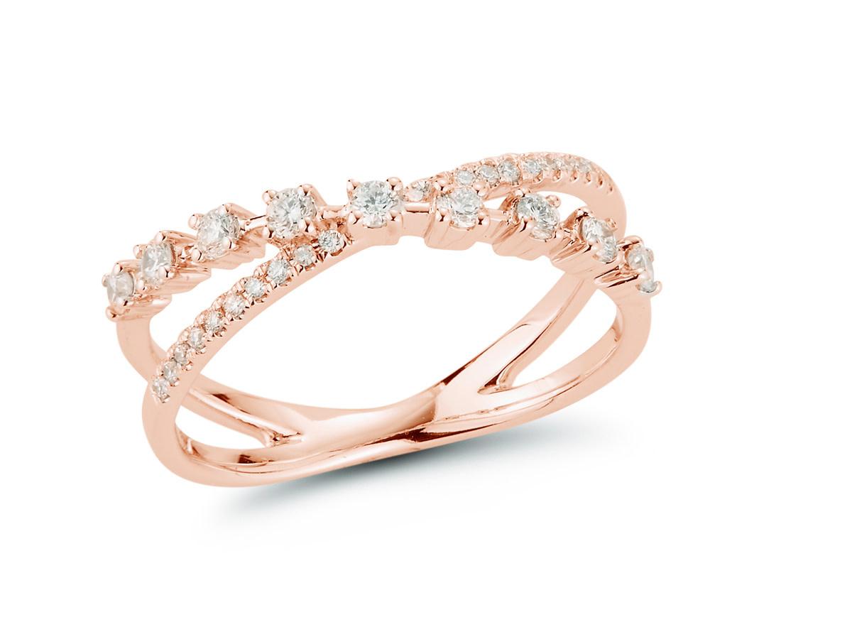 Dana Rebecca Ava Bea Diamond Crossover Rose Gold Ring