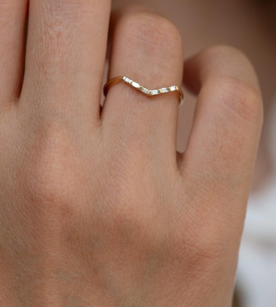 Artëmer Baguette V Shaped Gold Ring
