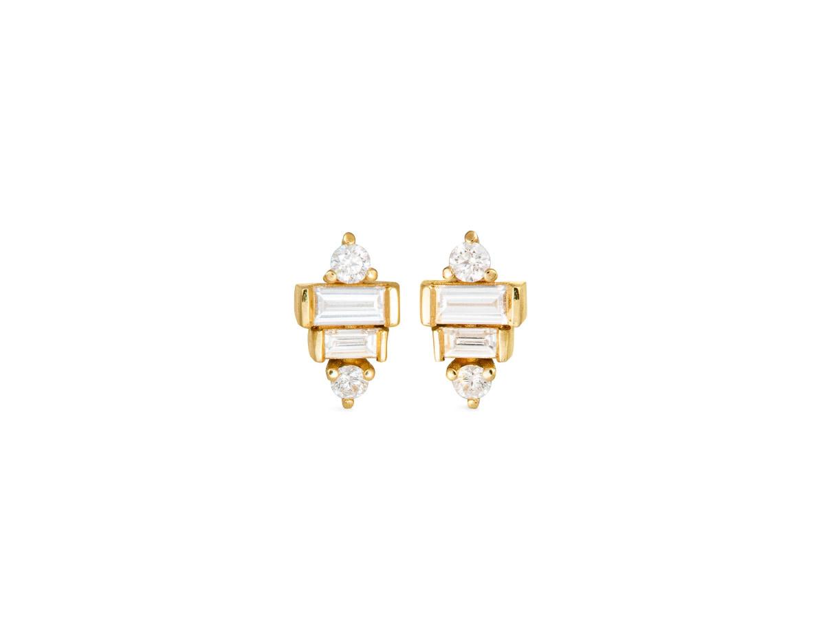 Artëmer Baguette Diamond Deco Stud Earrings