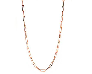 Small Long Oval Link Rose Gold Necklace E2185