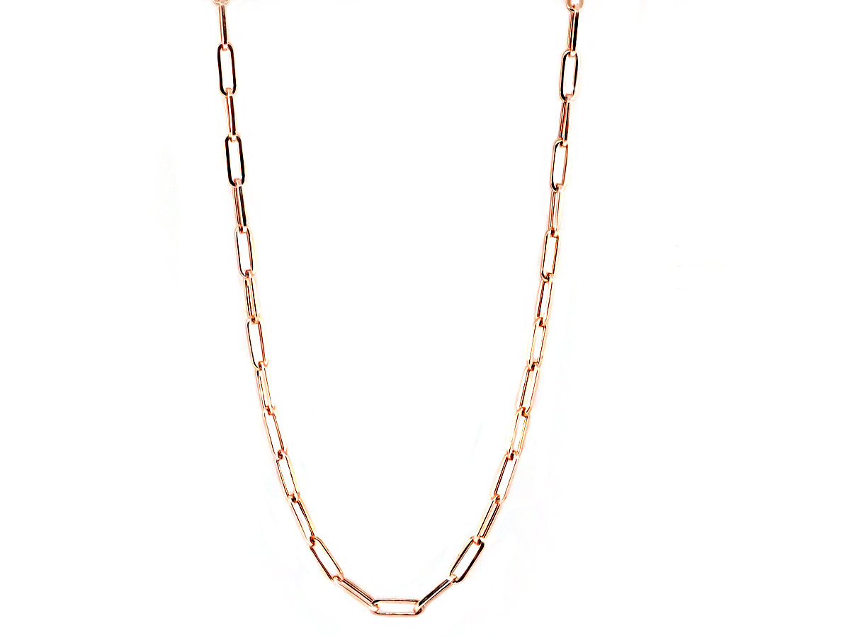 Trabert Goldsmiths Small Long Oval Link Rose Gold Necklace