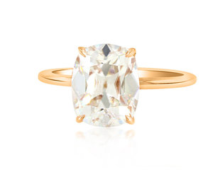 Trabert Goldsmiths 3.09ct Antique Cushion Moissanite Aura Ring E2191