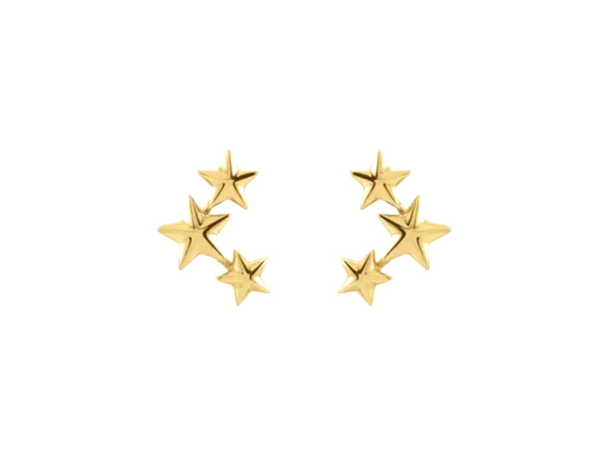 Trabert Goldsmiths Star Ear Climber Stud Earrings