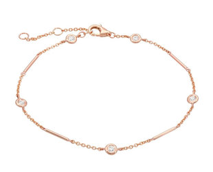 Rose Gold Unity Bracelet With Diamond Stations LN92