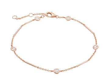 Rose Gold Unity Bracelet With Diamond Stations LN92