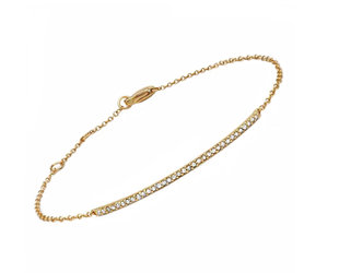 Delicate Diamond Bar Gold Bracelet LN89