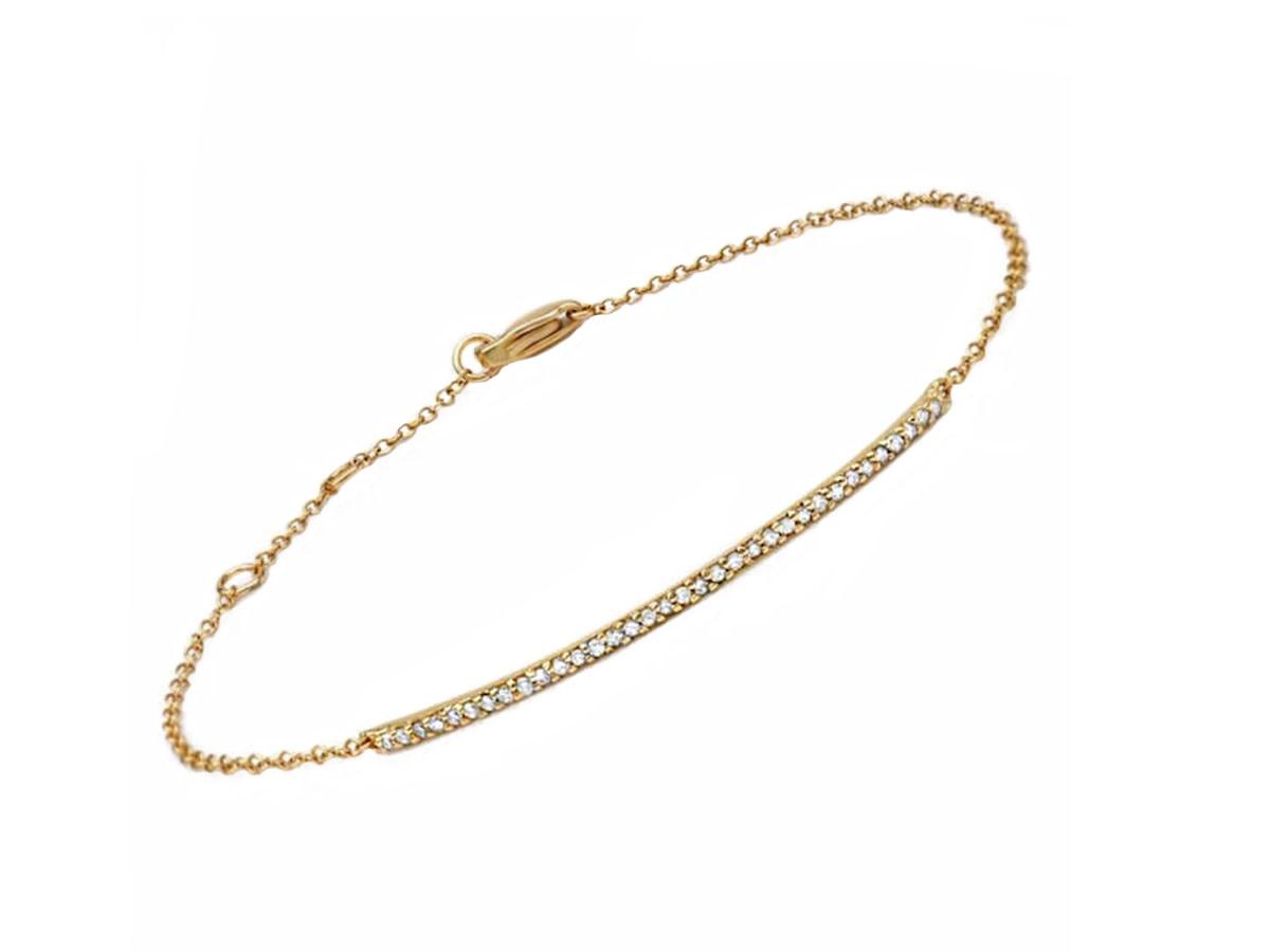 Delicate Diamond Bar Gold Bracelet