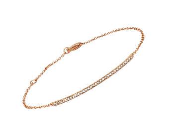 Delicate Diamond Bar Rose Gold Bracelet LN90