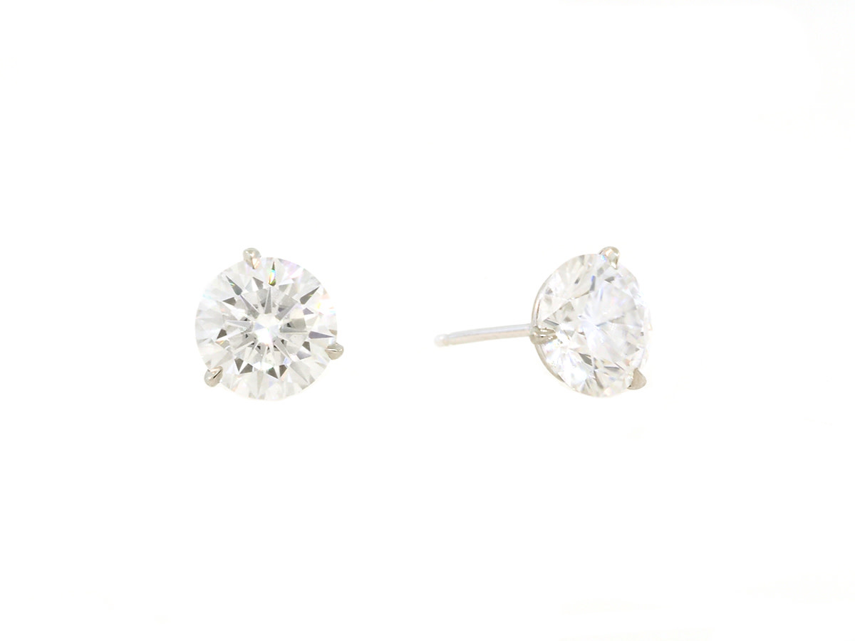 Trabert Goldsmiths 4ct Round Brilliant Moissanite Stud Earrings