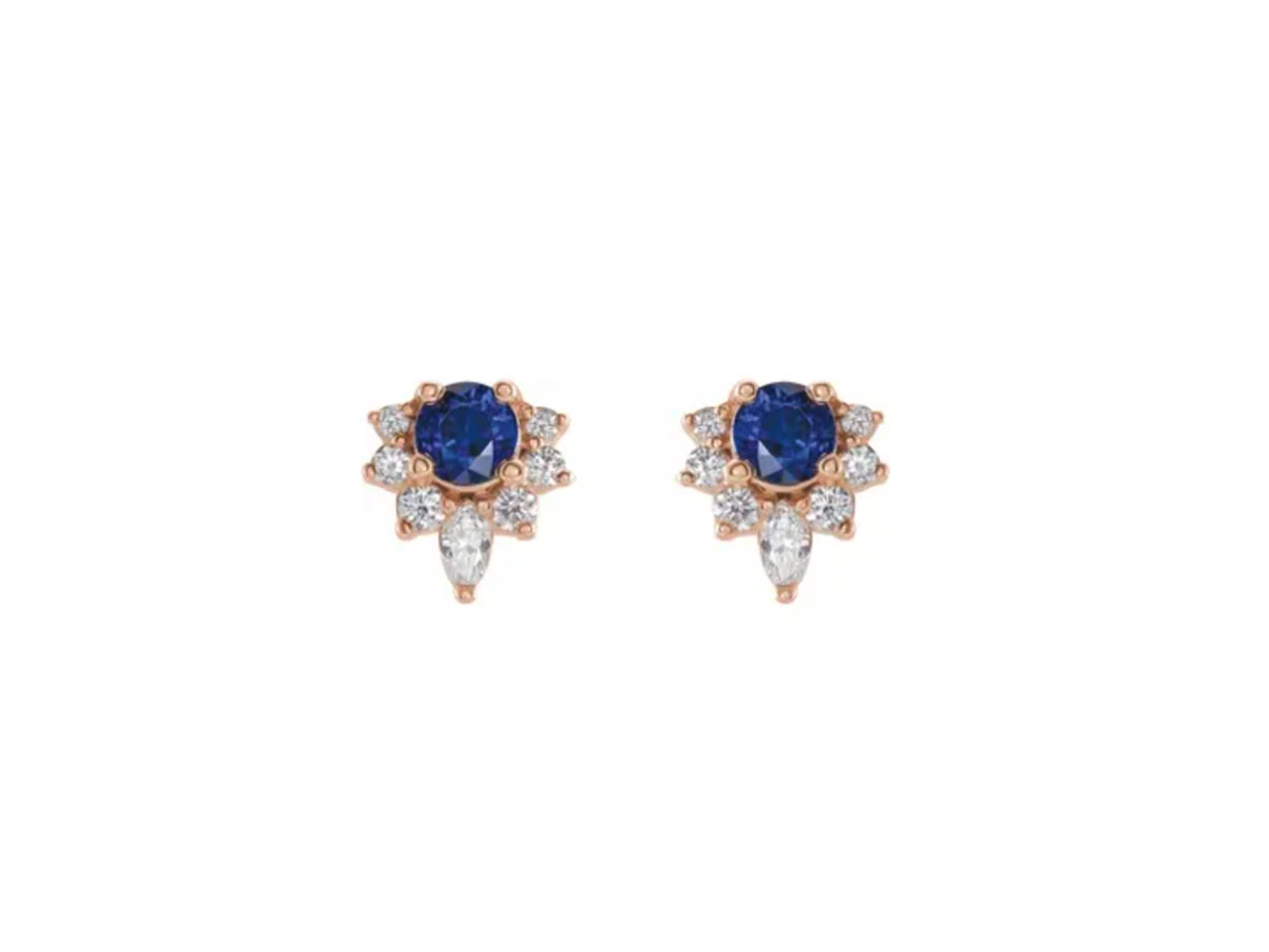 Trabert Goldsmiths Sapphire and Diamond Cluster Earrings