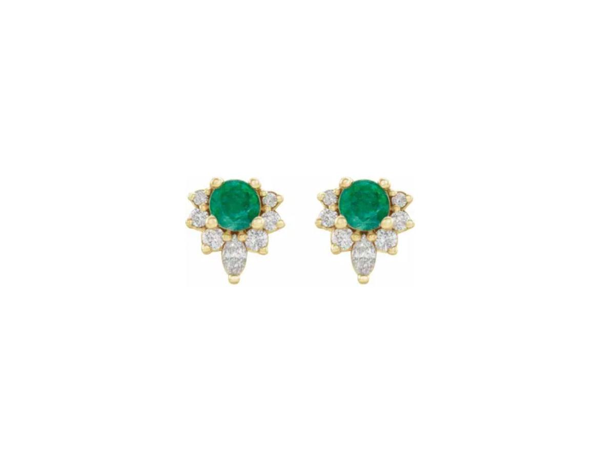 Trabert Goldsmiths Emerald and Diamond Cluster Earrings