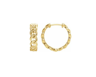 Trabert Goldsmiths Gold Chain Huggie Hoop Earrings E2212