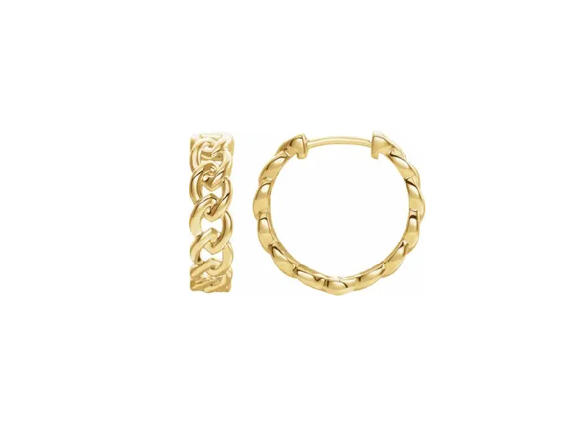 Gold Chain Huggie Hoop Earrings