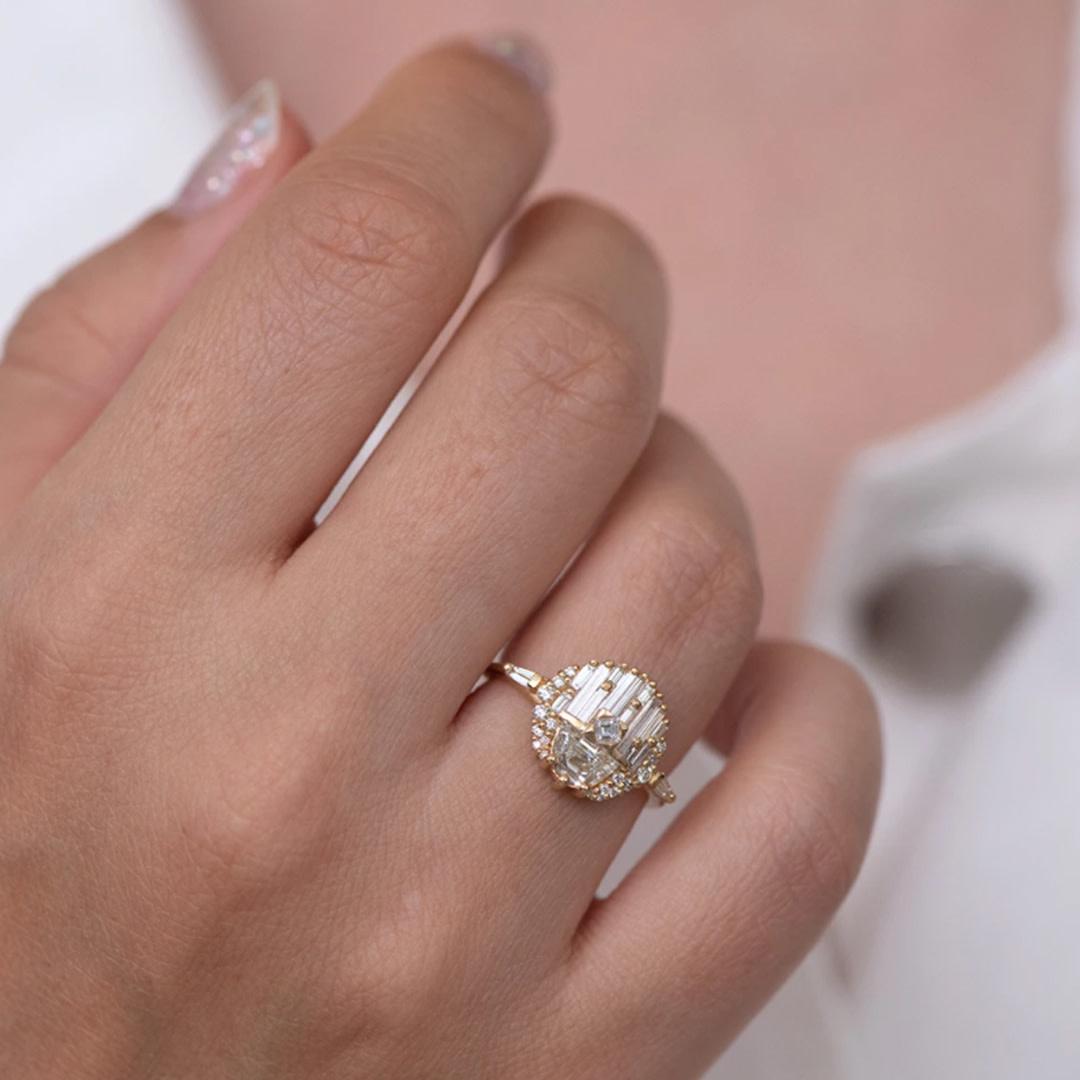 Artëmer Geomertic Half Moon Diamond Engagement Ring