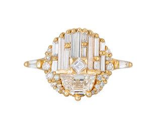 Artëmer Geomertic Half Moon Diamond Engagement Ring AT21