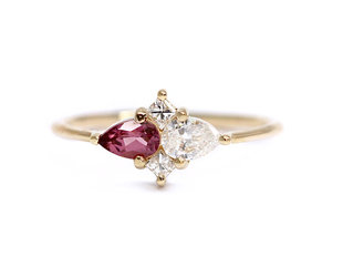 Artëmer Pear Diamond and Garnet Cluster Ring AT22