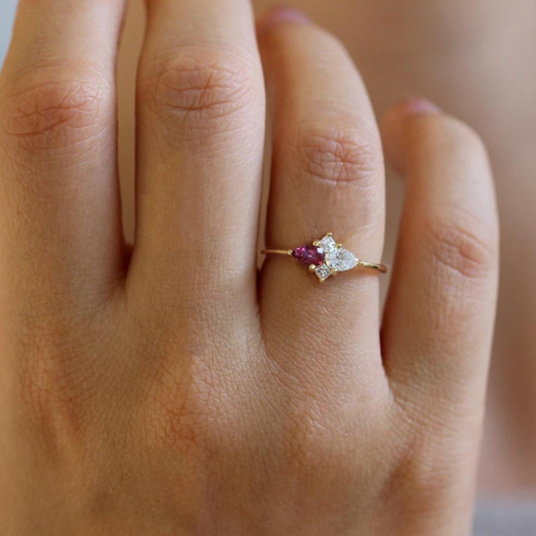 Artëmer Pear Diamond and Garnet Cluster Ring