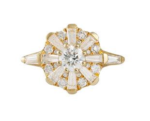 Artëmer Sun Temple Geometric Diamond Cluster Ring AT23