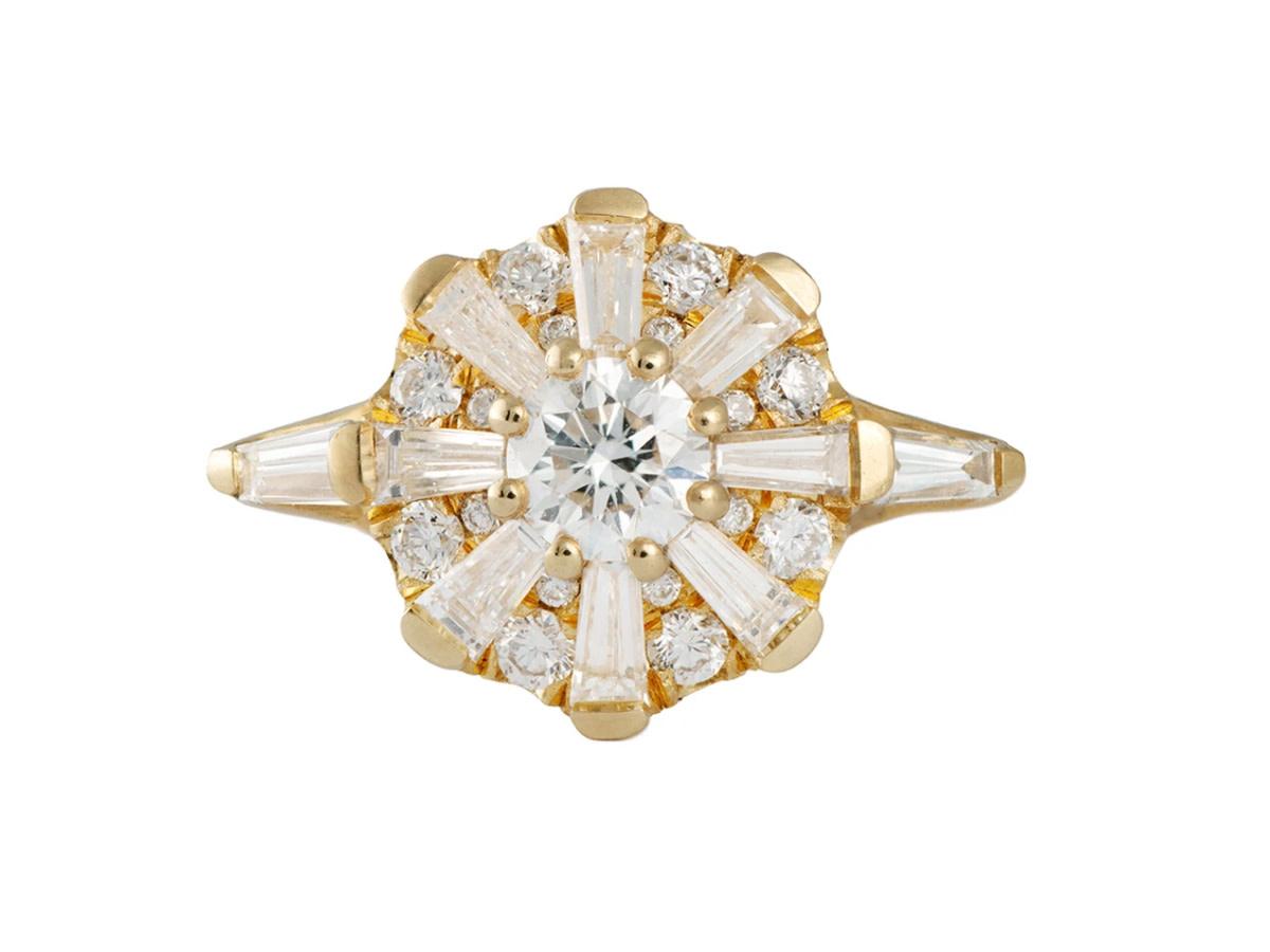 Artëmer Sun Temple Geometric Diamond Cluster Ring