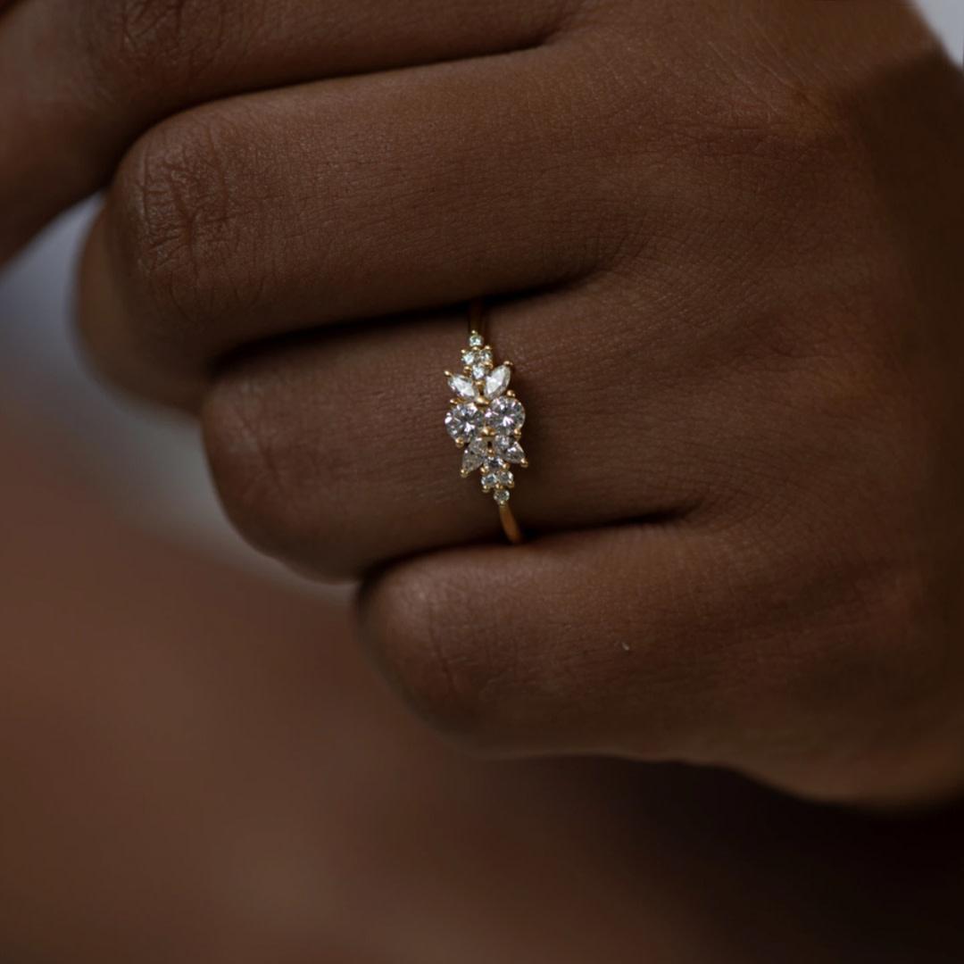 Flora Diamond Cluster Engagement Ring