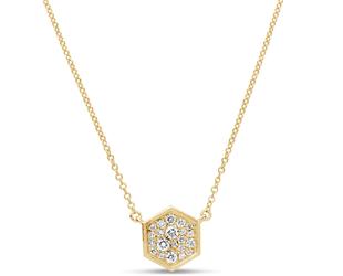 Diamond Pave Hexagon Necklace DL62