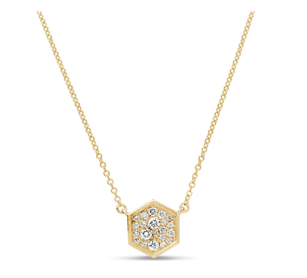 Diamond Pave Hexagon Necklace