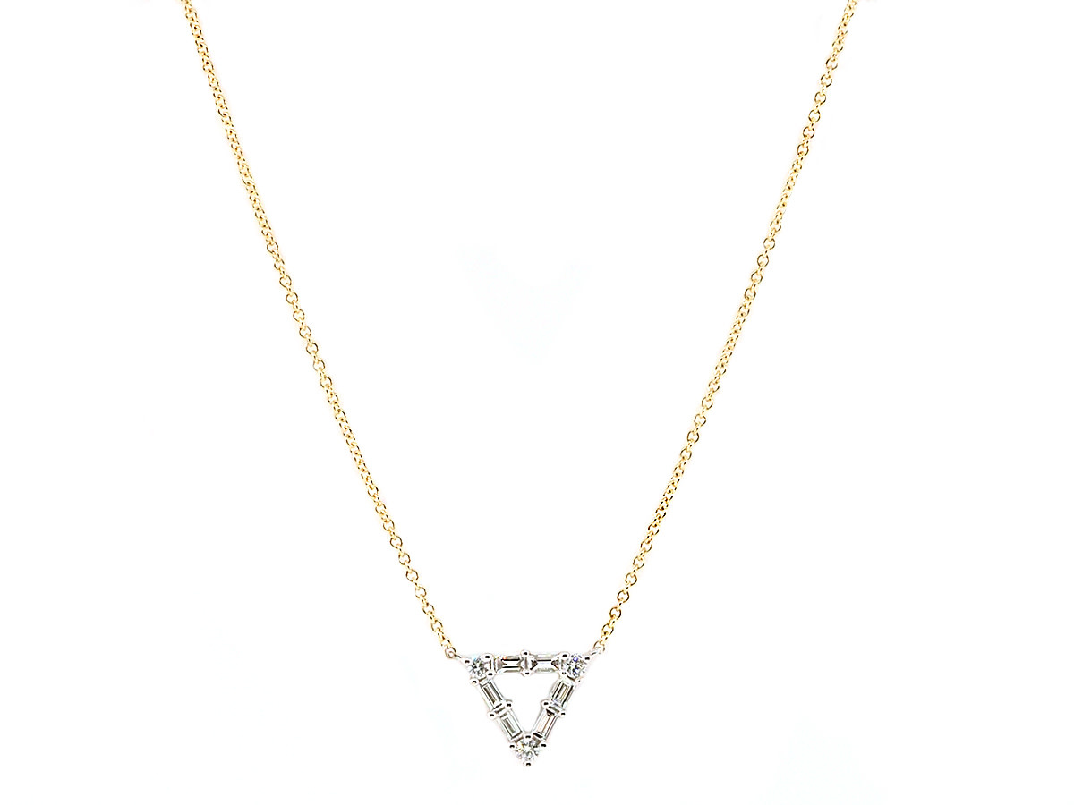Diamond Baguette Triangle Necklace