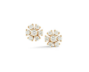 Dana Rebecca Circular Flower Diamond Gold Studs DR40