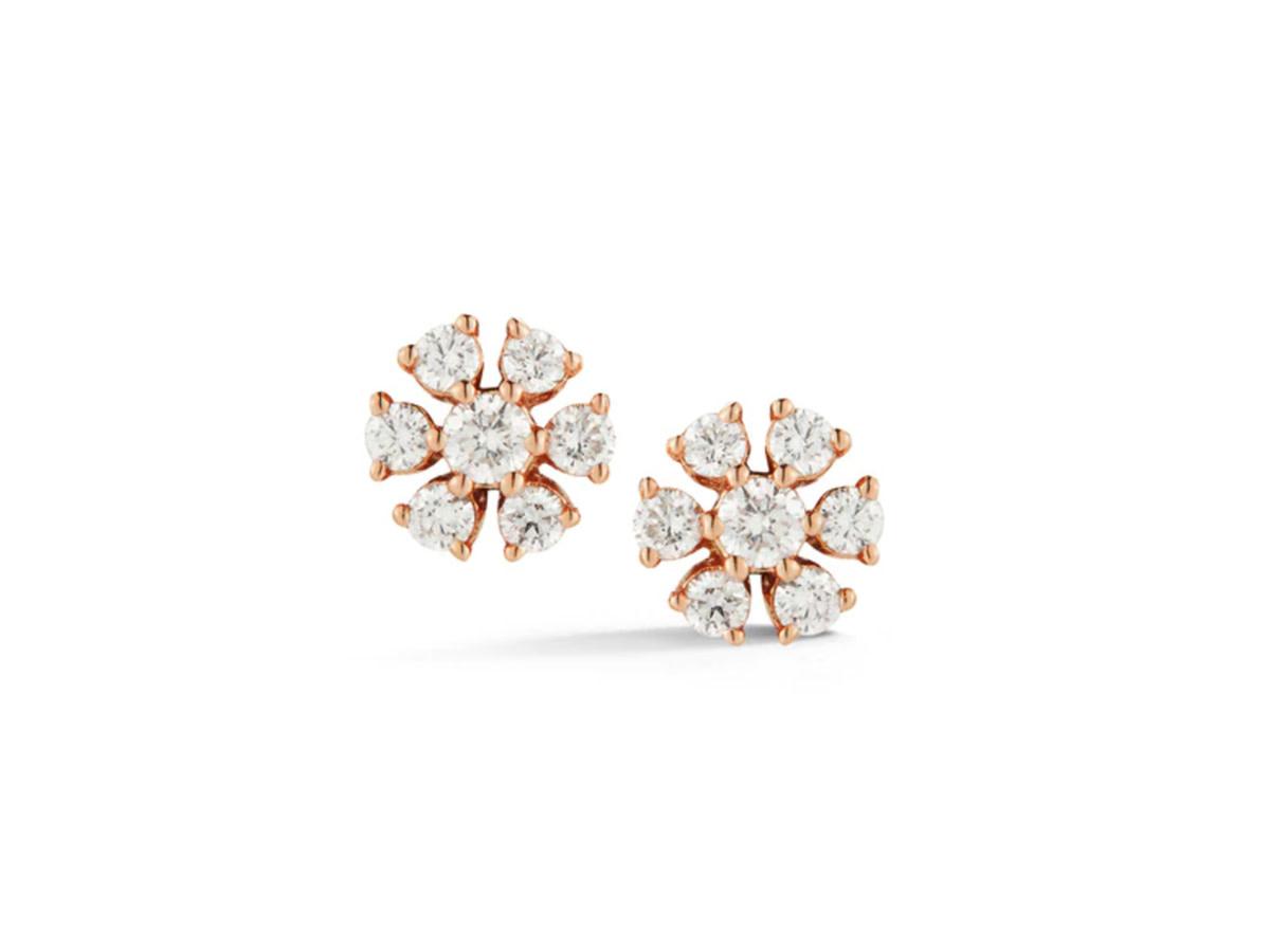 Dana Rebecca Circlular Flower Diamond Rose Gold Studs DR41