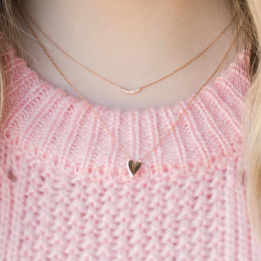Dana Rebecca Sylvie Rose Pave Curve Rose Gold Necklace