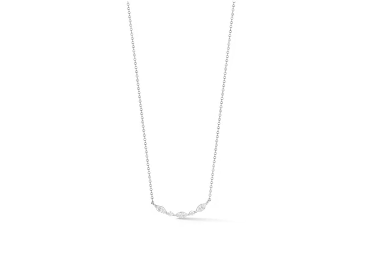 Dana Rebecca Marquise and Round Diamond Curve Necklace