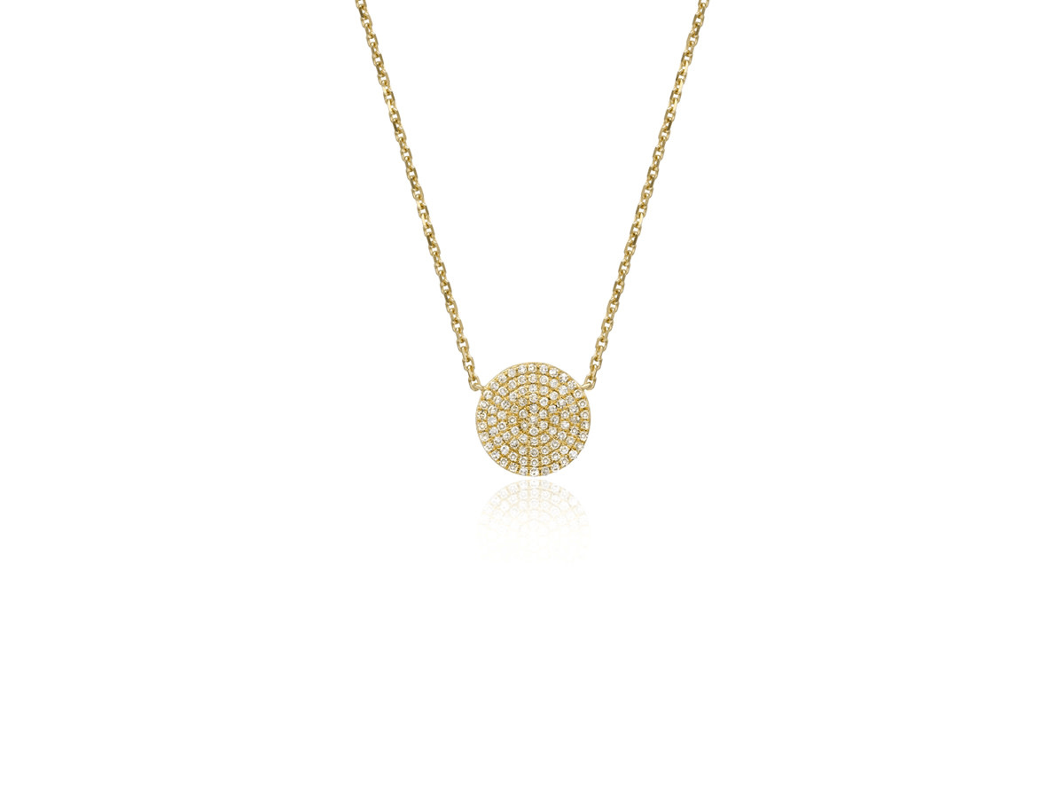 Small Pave Diamond Disc Gold Necklace