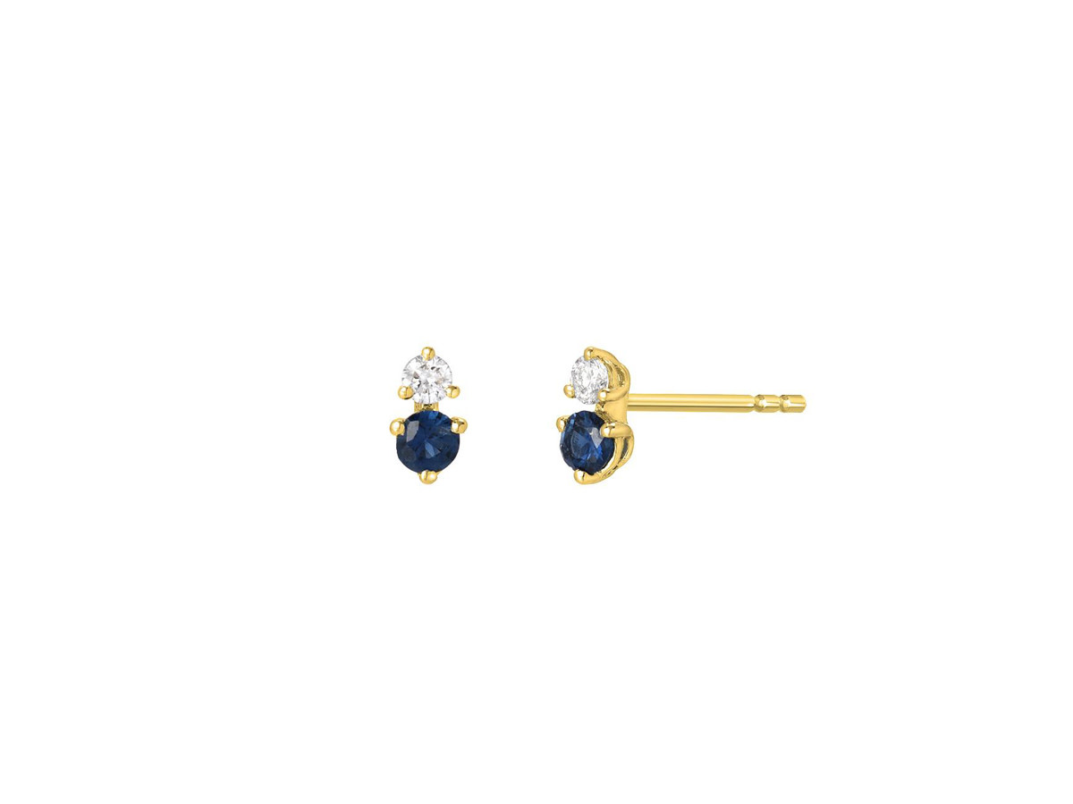 Petite Diamond and Sapphire Stud Earrings